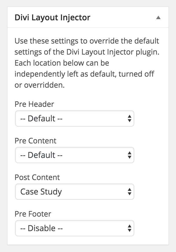 Divi Layout Injector | Tortoise IT - Documentation